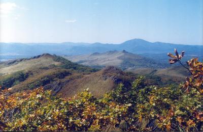 Вулканические купола дацитов и риодацитов слагают скалистые вершины в центральной части Пойменской впадины